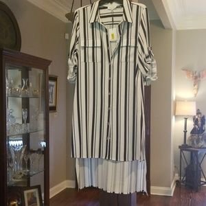 NWT Calvin Klein Striped Tunic with Side Splits